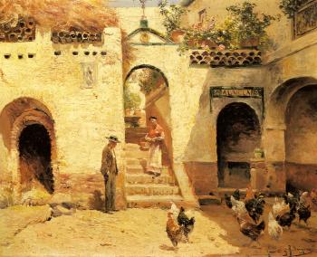 Feeding Poultry In A Courtyard